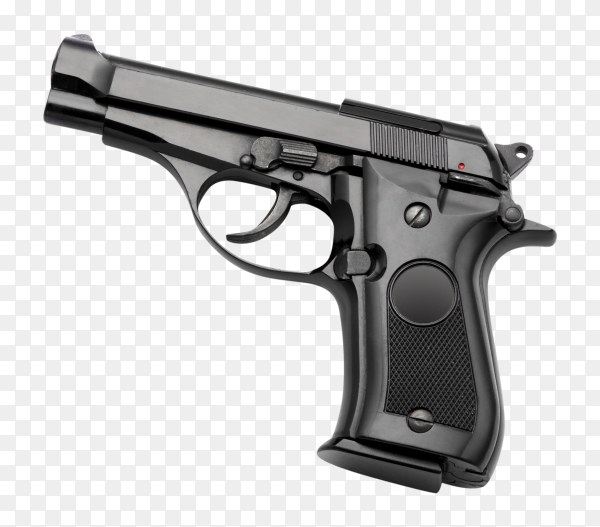 Automatic hand gun on transparent background PNG
