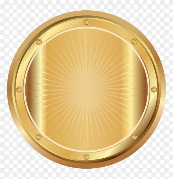 Award golden blank medal on transparent PNG