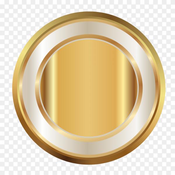 Award golden blank medal on transparent background PNG