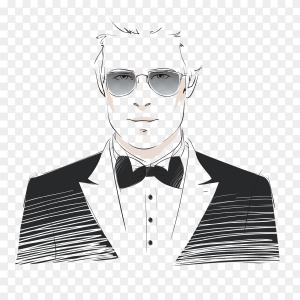 Background man with Black suit vector PNG