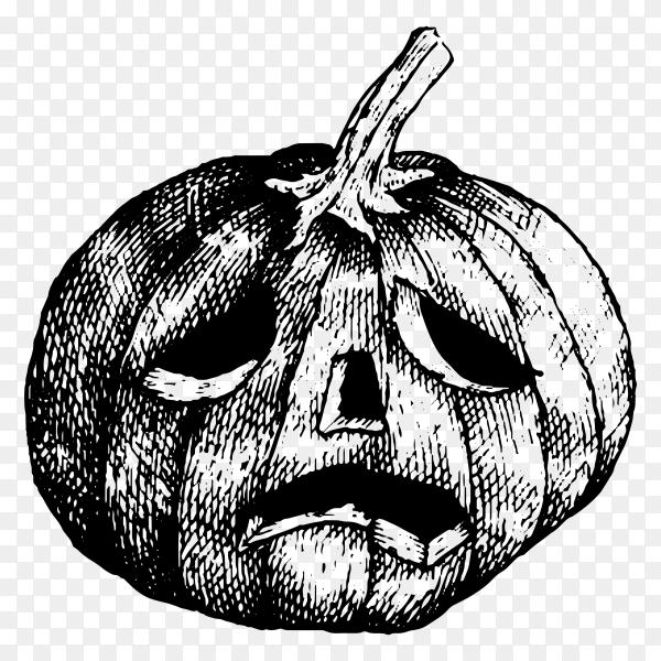 Balck and white halloween pumpkin on transparent PNG
