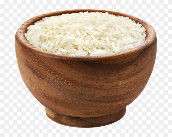 Basmati rice in wooden bowl isolated on transparent background PNG