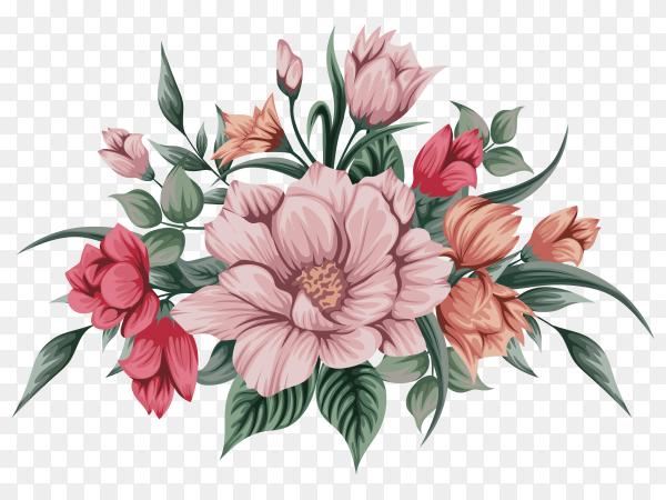 Beautiful watercolour bouquet flowers on transparent background PNG