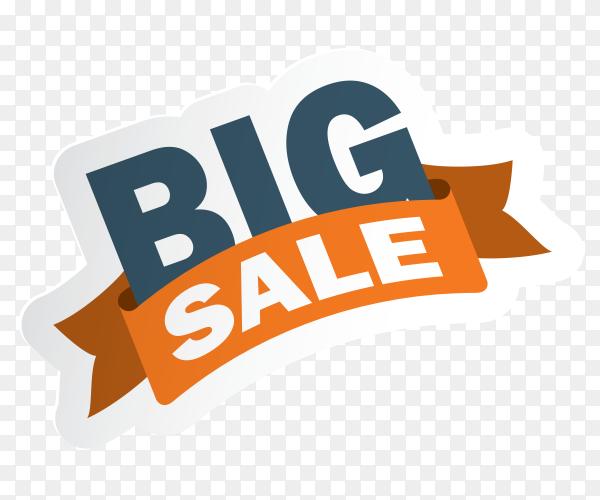 Big sale banner design on transparent background PNG