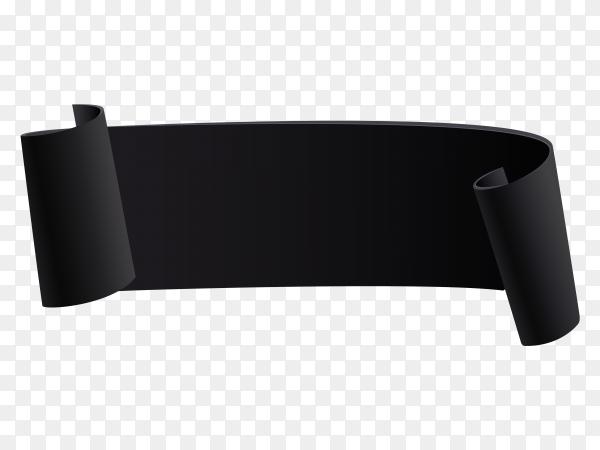 Black Ribbon banner on transparent background PNG