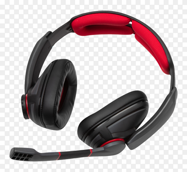 Black and red gaming headphones on transparent background PNG
