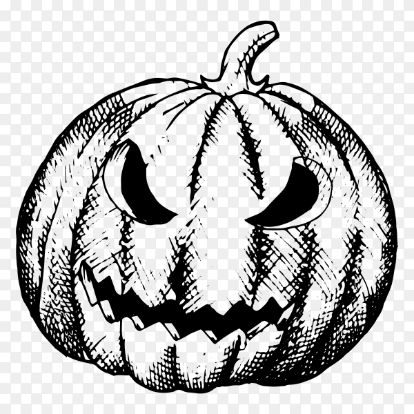 Black and white halloween pumpkin on transparent background PNG