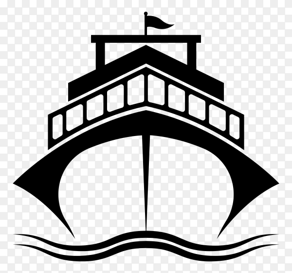 Black and white ship on transparent background PNG
