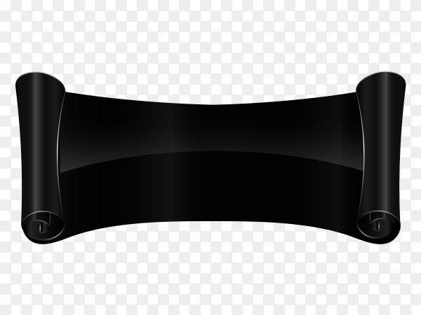 Black curved textile banner on transparent background PNG