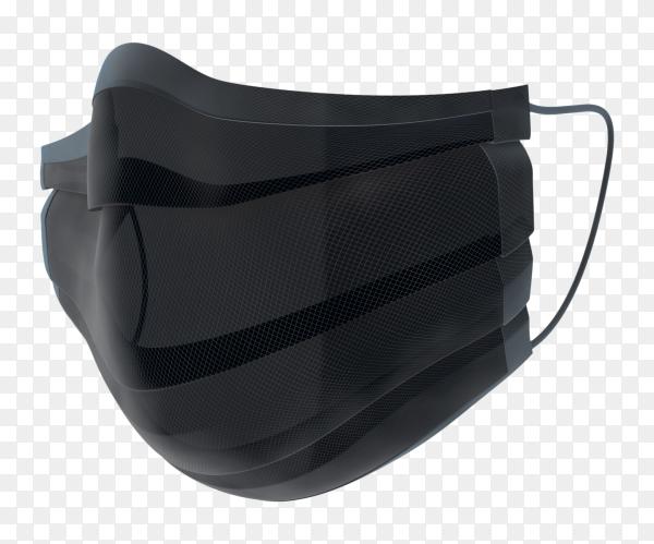 Black doctor mask on transparent background PNG