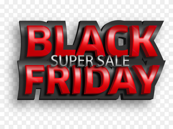 Black friday 3D text style effect on transparent background PNG