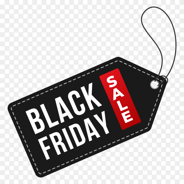 Black friday banner with tag label price on transparent background PNG