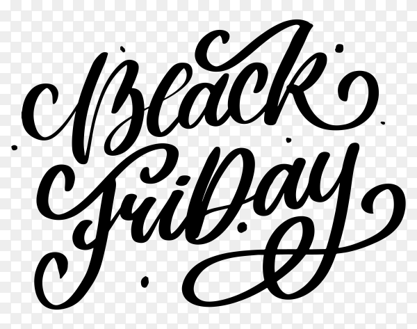 Black friday banner with black calligraphic designs on transparent background PNG