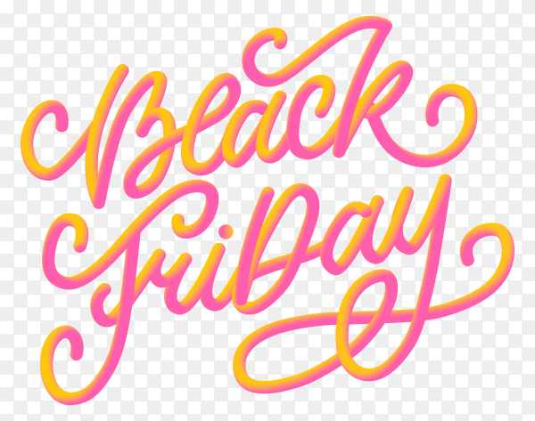 Black friday banner with calligraphic designs on transparent background PNG