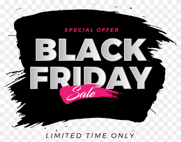 Black friday brush banner design on transparent background PNG
