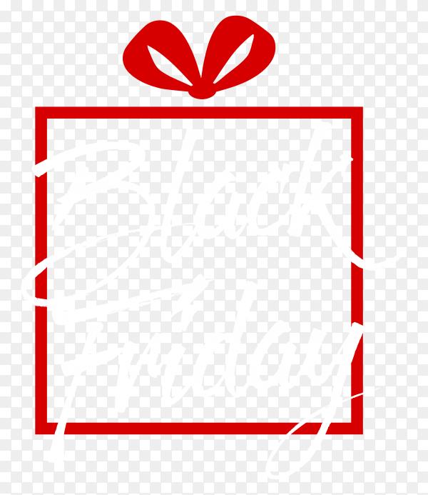 Black friday poser on red frame on transparent background PNG