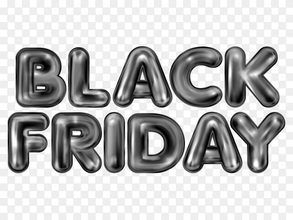 Black friday poster with metallic balloon lettering on transparent background PNG