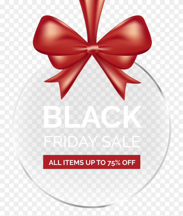 Black friday promo with red ribbon on transparent background PNG