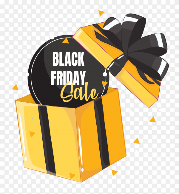 Black friday sale banner layout design with gift on transparent background PNG