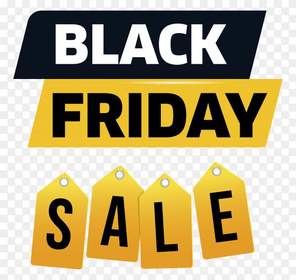Black friday sale banner template on transparent PNG