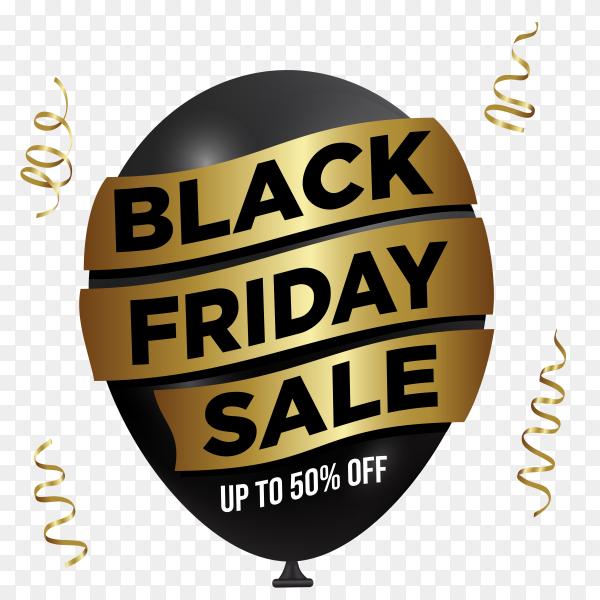 Black friday sale banner template on transparent background PNG