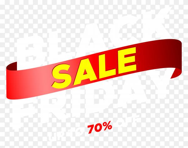 Black friday sale banner with red ribbon illustration on transparent background PNG