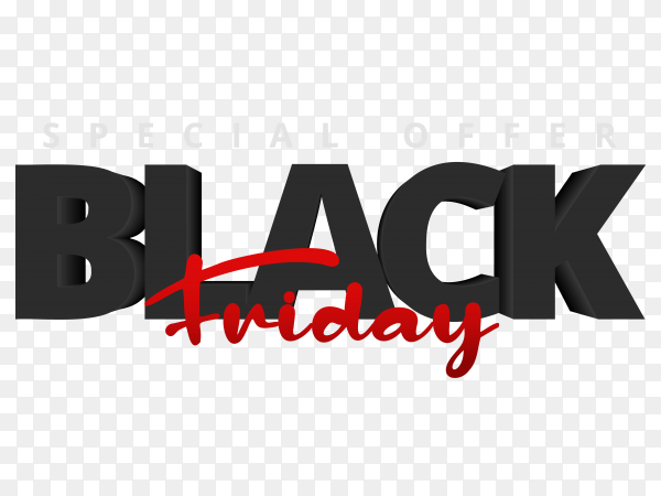 Black friday sale banners template design on transparent background PNG