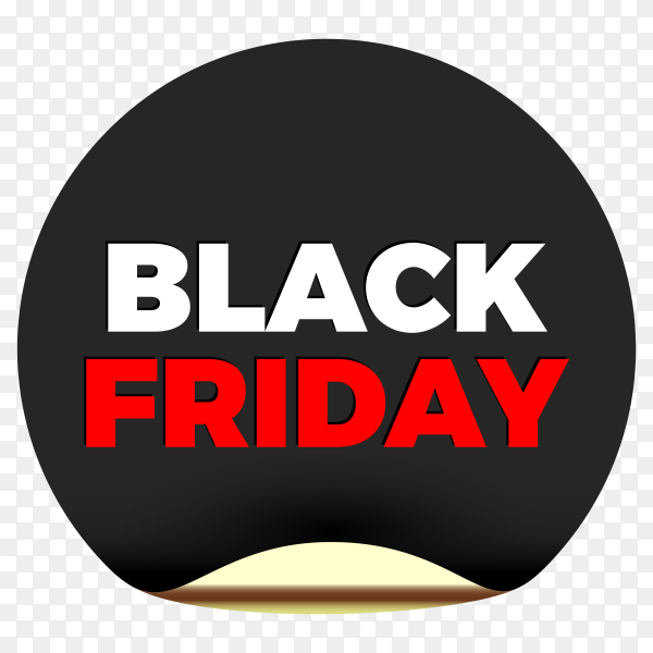 Black friday sale in round sticker on transparent background PNG