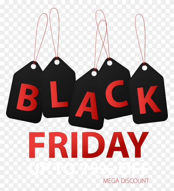 Black friday sale llustration banner template on transparent background PNG