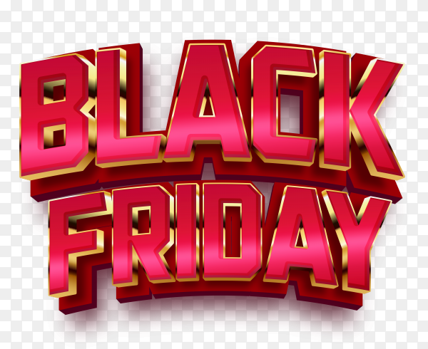Black friday sale text effect on transparent background PNG
