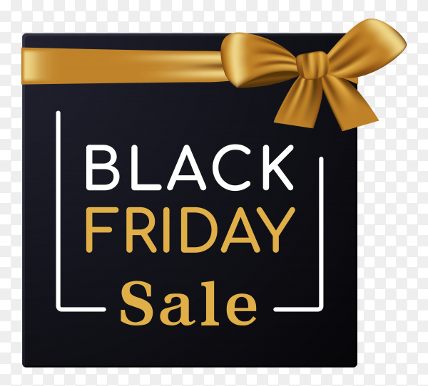 Black friday sale with gift box on transparent background PNG