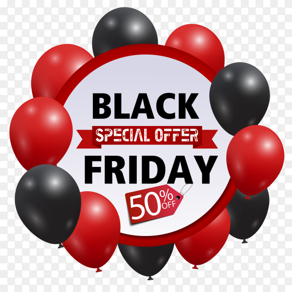Black friday sale with red and black balloons on transparent background PNG