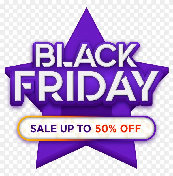 Black friday sales ad banner on transparent PNG