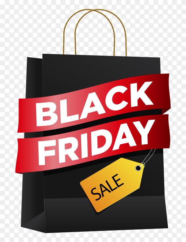 Black friday sales ad banner on transparent background PNG