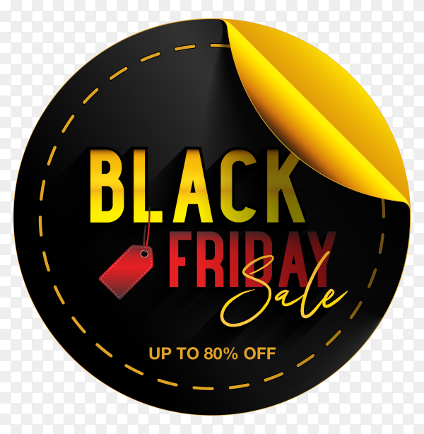Black friday sticker banner template on transparent background PNG