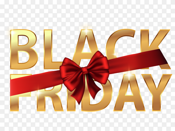 Black friday with golden color with red Riboon on transparent background PNG