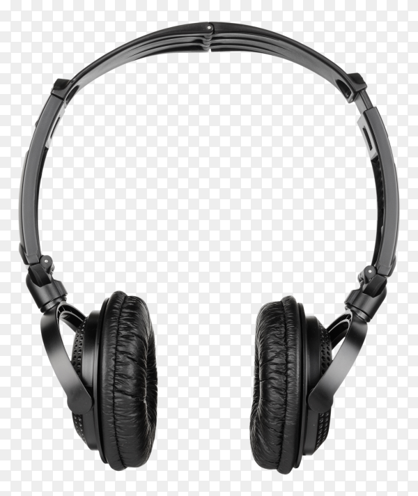 Black headphones isolated on transparent background PNG