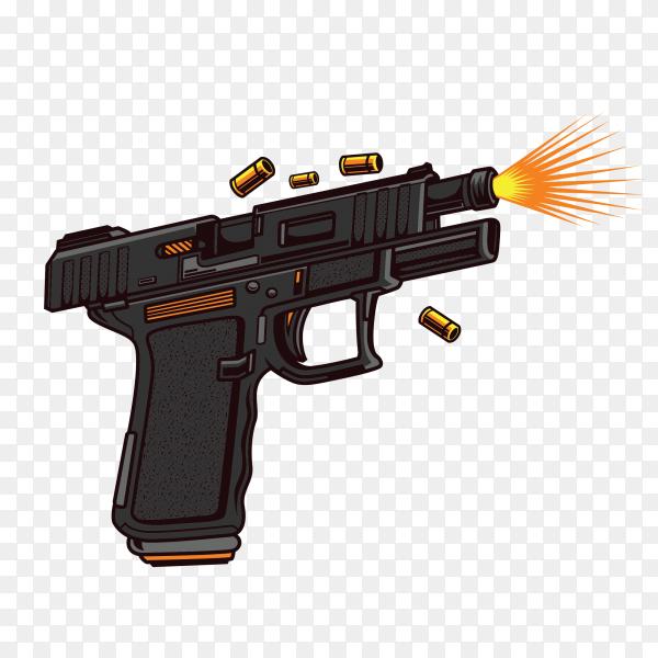 Black shotgun firing on transparent background PNG