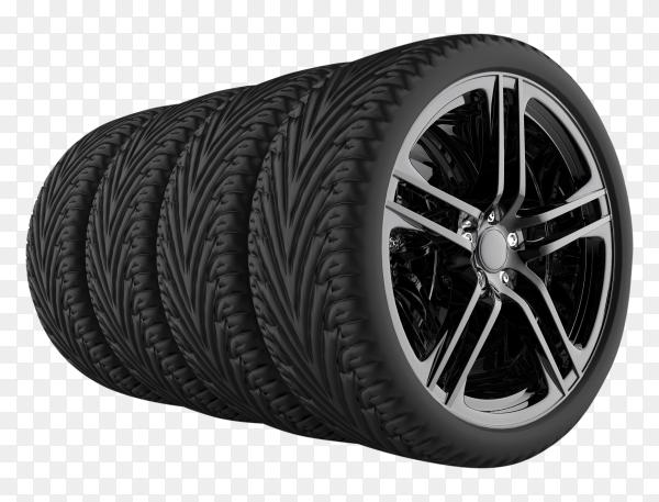 Black tires on transparent background PNG