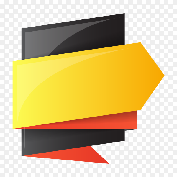 Black yellow color banner design on transparent background PNG