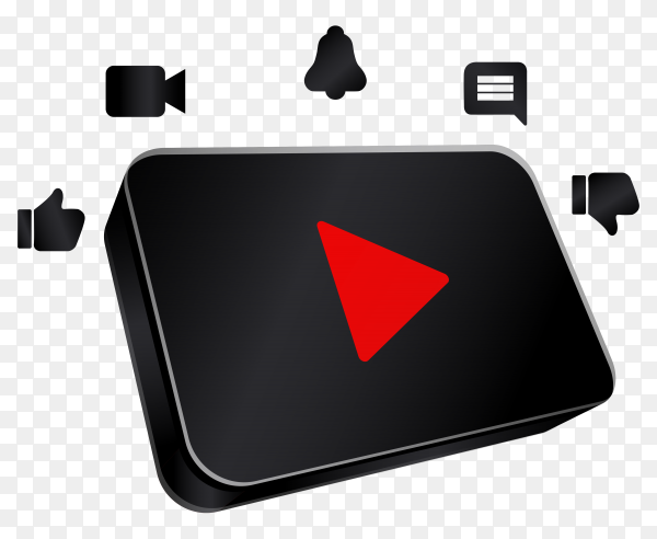 Black youtube icon design on transparent background PNG