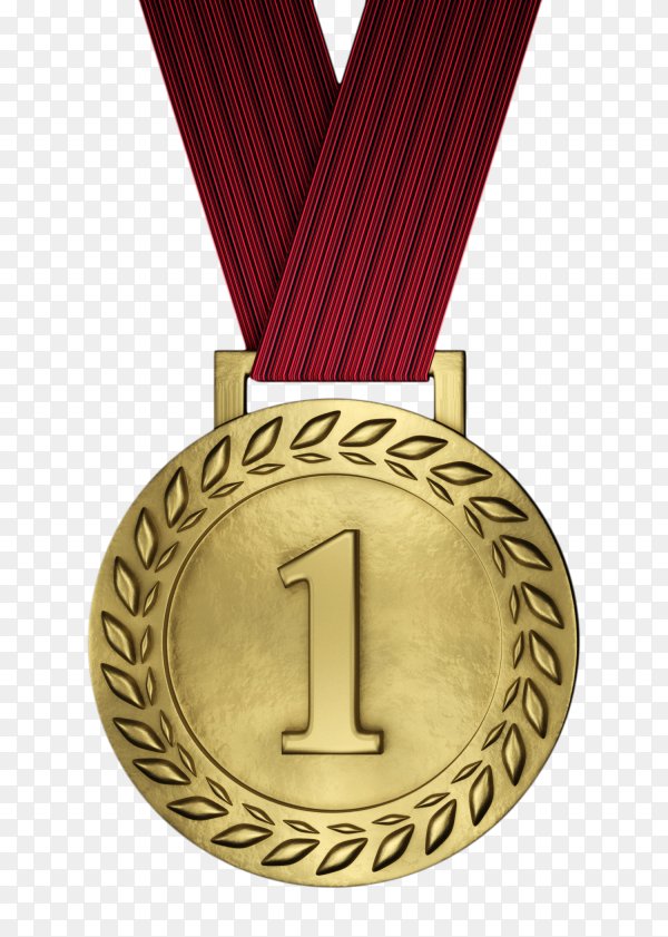 Blank gold medal isolated on transparent background PNG