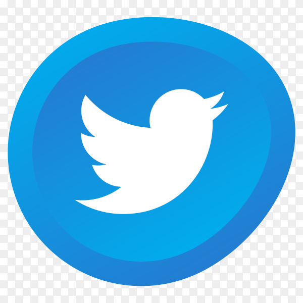 Blue Twitter logo on transparent background PNG
