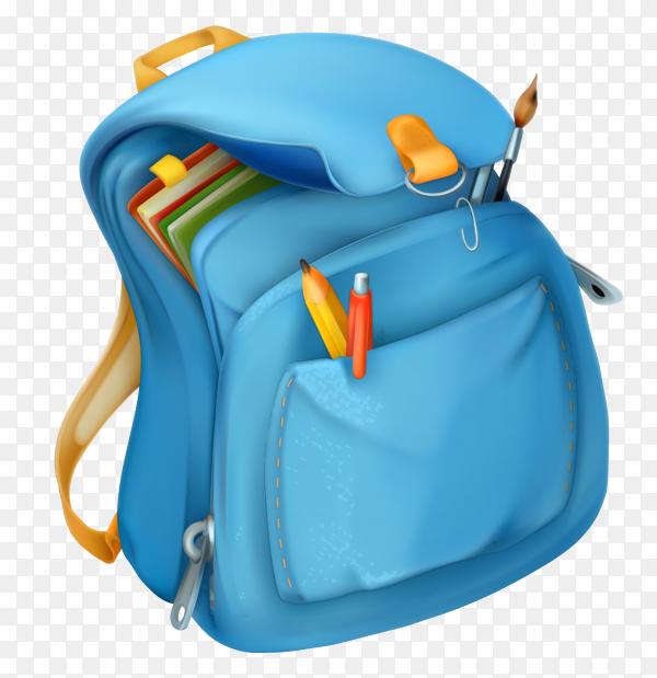 Blue backpack on transparent background PNG