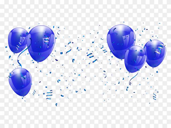 Blue balloons Illustration on transparent background PNG
