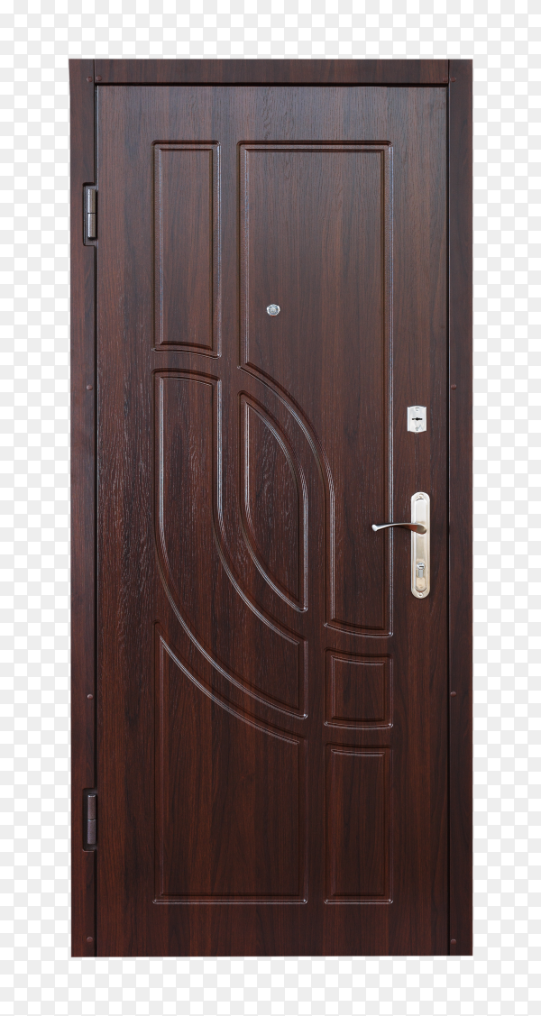 Brown wooden closed door isolated on transparent background PNG