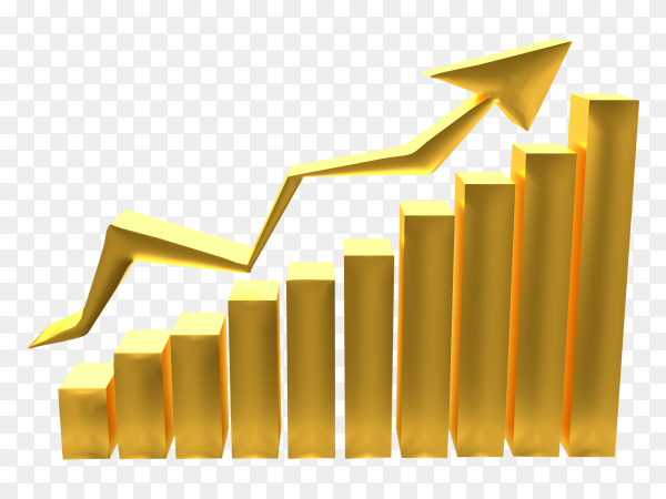 Business gold graph with arrow showing success gold market online on transparent PNG