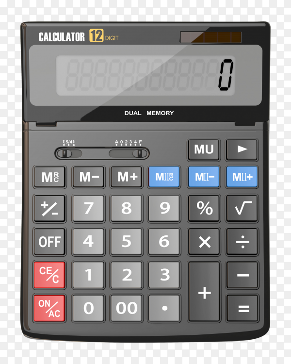 Calculator isolated on transparent background PNG