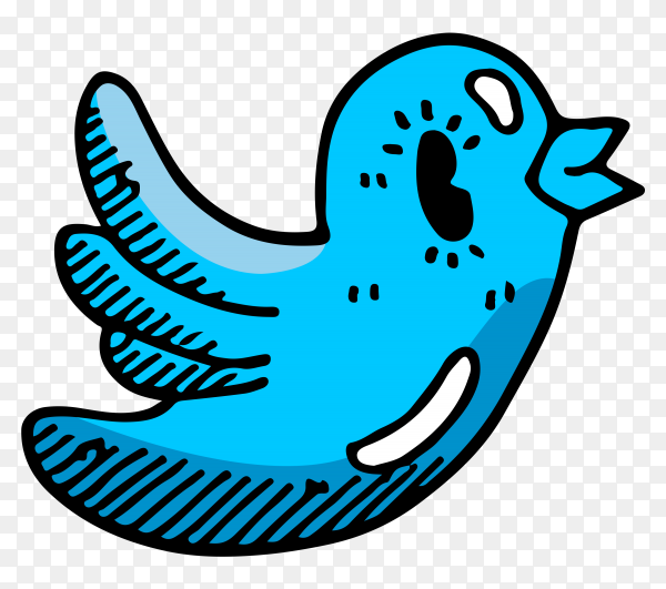 Cartoon Twitter logo on transparent background PNG