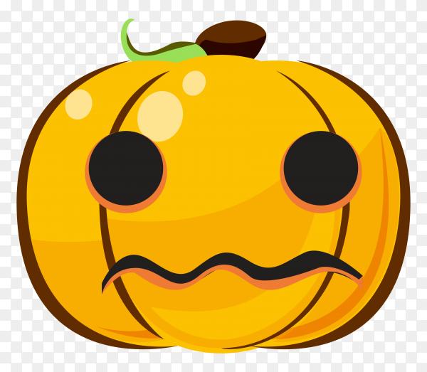 Cartoon halloween Pumpkin with sad emoji face on transparent bacakground PNG